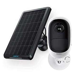 Reolink Ueberwachungskamera Aussen WLAN Argus Pro mit Solarpanel, 1080P 2,4 Ghz WiFi IP Kamera kabellos mit wiederaufladbarem Akku, 2-Wege-Audio und SD Kartenslot, kostenlose App und PC-Client