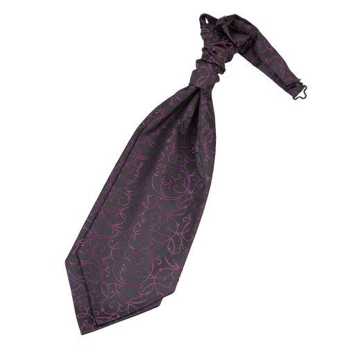 Lavallière pré-nouée à volutes pour homme Noir et violet