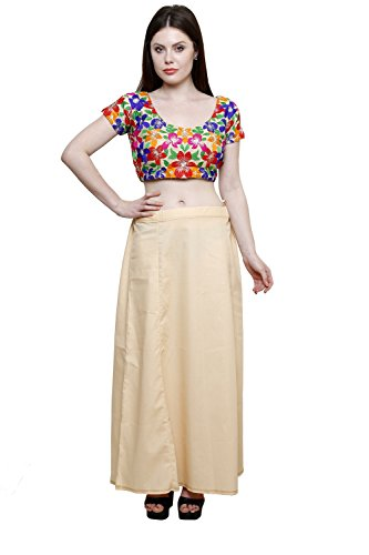 Pistaa Women's Cotton Light Beige Colour Readymade Inskirt Saree petticoats