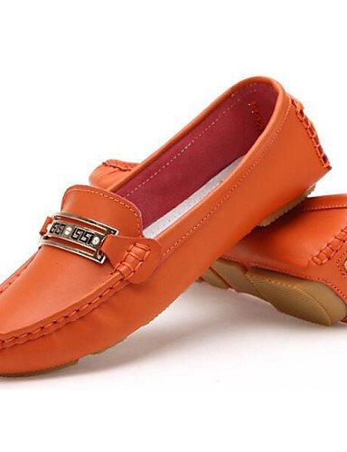 ZQ gyht Damenschuhe-Ballerinas-B¨¹ro / Kleid / L?ssig-T¨¹ll / Nappa Leather-Flacher Absatz-Ballerina / Komfort-Gelb / Wei? / Orange orange-us8 / eu39 / uk6 / cn39