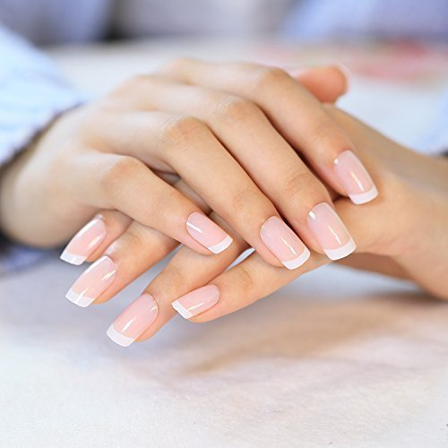 yunail 24PCS/Set weiß Französische Nägel klassischen Full-Cover kurz oval Falsche Nägel