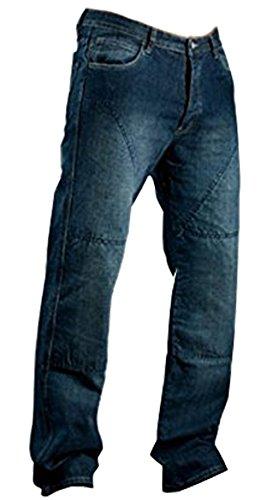 Juicy Trendz Herren Motorradrüstung Biker Motorrad Denim Hose Jeans Horn Blau, 38W / 30L, Blau -