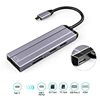 USB C Hub, 6amLifestyle Type C Adapter with 4K HDMI, USB C PD Power Delivery, USB 3.0, USB 2.0, SD/TF Card Reader for MacBook Pro and Google Chromebook
