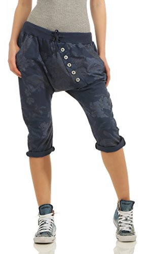 Mississhop 258 Damen Capri Hose Haremshose Ballonhose Pluderhose Pumphose Aladinhose Sommerhose Blumen Print Muster Baggy Pants 3/4 Dunkelblau ... 3/4 Baggy Pants