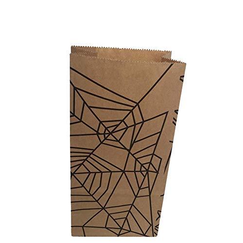 Cdet 12X Papier Beutel Öffnen Partytüten Kraftpapierbeutel Tüten, für Zucker Kekes Süßigkeiten Nuss Verpackungstasche Für Halloween (Spinnennetz)