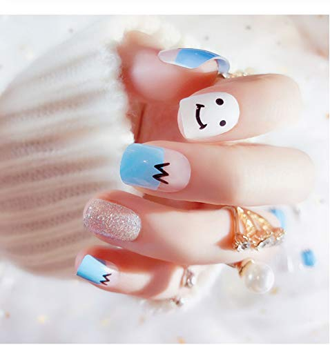 �lschte nail art dekoration blau weiß giltter langen quadratischen kopf full cover falsche nägel tipps mit kleber aufkleber set 2 ()