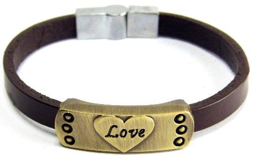 Preisvergleich Produktbild Unisex Liebes Lederarmband mit LOVE Gravur mit Braunen Leder Band und Magnet Verschluss Vintage