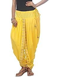NIKA Women's Cotton Dhoti Salwar(KNA-12969 Yellow Free Size)