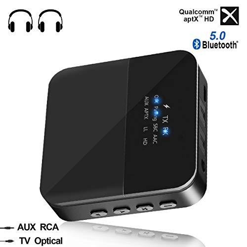 CARPURIDE Bluetooth 5.0 Audio Adapter, aptX LL und aptX HD Bluetooth Transmitter und Empfänger 2 in 1 mit Optisches SPDIF, 3,5mm AUX und RCA Kable für TV PC Stereoanlage Kopfhörer Lautsprecher (Tv-bluetooth-adapter)