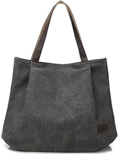 DCCN Canvas Shopper Bag Damen Handtasche Einkaufstasche mit Große Kapazität 48*38*15cm