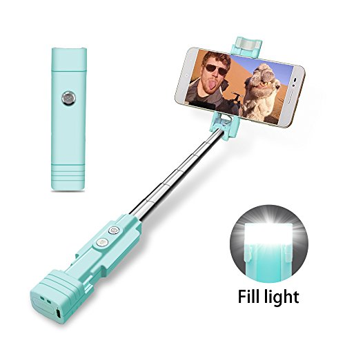 atongm Bastone Selfie Bluetooth Selfie Stick, Mini Selfie Sticks con LED Fill Light per iOS Android e Altro (Blu)