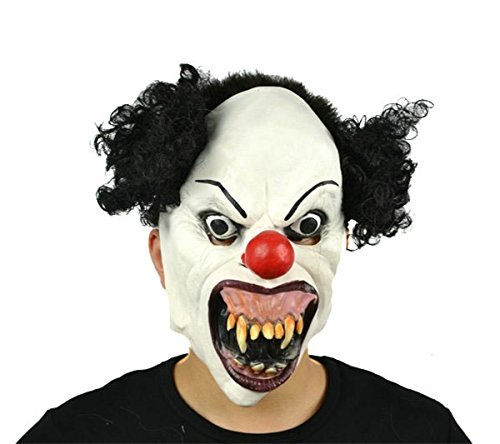 Requisiten Creepy Clown (hyalinität & Dora Halloween Latex Clown Maske mit Haar für Erwachsene, Halloween-Kostüm Party Requisiten)