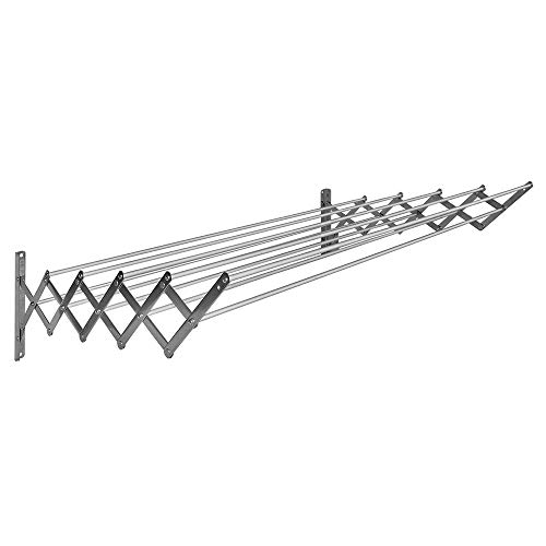 K2Calore Khg12135 - Tendedero extensible para sujetar sobre pared, aluminio, 6 m