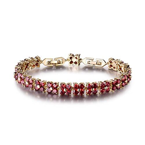 Steine Und Kristalle Armband (GULICX Rot Kristall Zirkonia CZ Kette Tennisarmband Vergoldet Blumen Gold-Ton Rubin Farbe Armband)