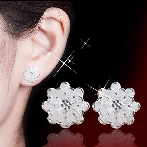 KFYU S weiblichen silbernen Ohr Nägel Silber kleinen Lotus Ohrschmuck Blumen Silber (Kleine Nagel-juwelen)