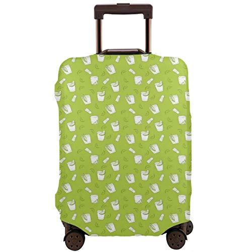 Travel Luggage Cover,Alcohol Culture with Drink Glass Salt Shaker and Lemon Slice Suitcase Protector Plaid Salt