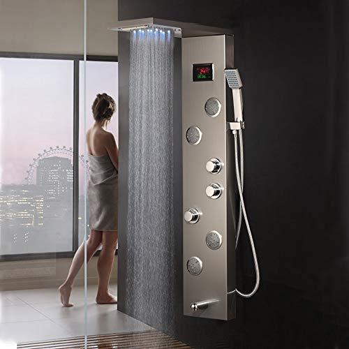 Shower system Nickelbürste Digitalanzeige Duschpaneel Spalte LED Kopf Dunkelgrau Regendusche Spa Jets Bad Dusche Mixer Wasserhahn,B