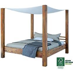SAM® Design Himmelbett aus Akazien-Holz, Bett aus Massivholz inkl. Stoffhimmel, widerstandsfähige Oberfläche, Holzbett ist EIN Unikat, Doppelbett, 180 x 200 cm