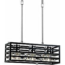 Cristalrecord - Lámpara moderna paula (3 luces). Metacrilato negro. Bombillas incluidas (3xg9 40w)