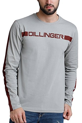Dillinger Men's Full Sleeve Printed T-Shirt Grey