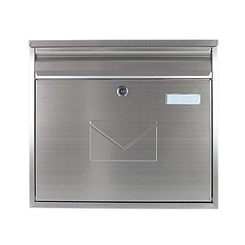 Edelstahl Briefkasten Teramo Mailbox, Postkasten, Zaunbriefkasten, INOX, Rostfrei, 2 Einwurfschlitze, Namensschild