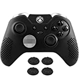 MoKo Silicone Case Fit Xbox One Elite Controller, Anti-Slip Silicone Controller Protective Cover Skin with 4PCS Joystick Caps Fit Xbox One Elite Controllers- Black