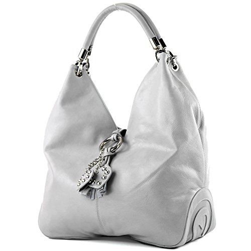 modamoda de - ital. Ledertasche Handtasche Shopper Damentasche Schultertasche Nappaleder 330NL Hellgrau Nappaleder