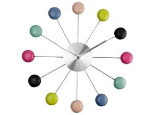 Pt, Horloge Macarons Multicolore et gris Résine et métal