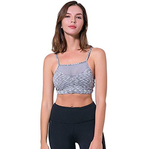 Cabrio Sport-bh (Damen Sport BH Lady Yoga Running 3 Fitness 4 Cup Festliche Kleidung Wire Free Nicht Cabrio Straps Net Garn BHS Unterwäsche Unterwäsche Frauen (Color : Grau, Size : M))