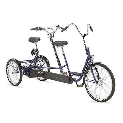 Dreirad Tandem, 7-Gang Tandem Fahrrad, City Tandem, 20/24 Zoll, inkl. großem Fahrradkorb u. Kabelschloss, bis 180 kg belastbar, für Zwei Personen, blau (Ohne Motor)