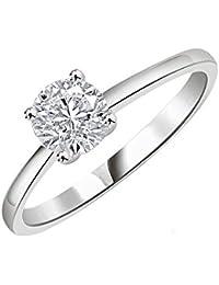 Silvernshine 1 Cts Round Cut Sim Diamond Solitaire Anniversay Ring In 14KT White Gold PL