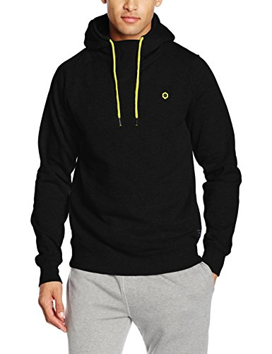 JACK & JONES Herren Kapuzenpullover Jcopinn Sweat Hood Noos, Schwarz (Black Fit:Reg/Yellow String), X-Large