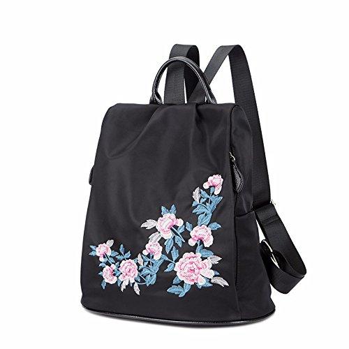 ein neuer stil der stickerei, mode, freizeit und alte dame rucksack,schwarz schwarz