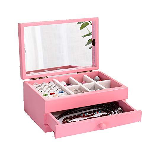 Renjianfeng astuccio per gioielli femminile in legno di grandi dimensioni,con specchio organizer portagioie di grande capacità, con cassetti estraibili scatola per medicazione multiuso,rosa