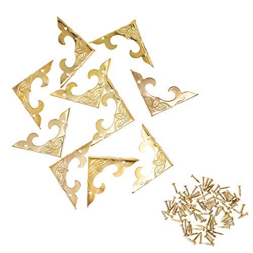 Ruda Schmuckkästchen aus Messing, Antik-Optik, mit Füßen, 10 Stück Gold