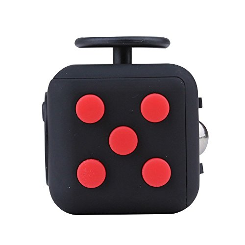 Fidget Cube Toy Anxiety Attention Stress Relief Stocking stuffer Relieves Stress for Children and Adults Christmas Gift Black (Red) - 2