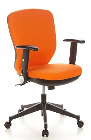 hjh OFFICE, 653622, Executive Chair, office chair, swivel, TRAFFIC 20, Orange, mesh, fabric, Professional office chair with ergonomic shaped backrest, thick padded and wide contoured seat, height adjustable