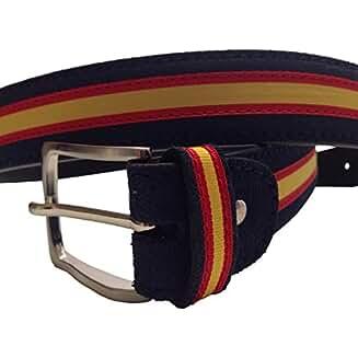Cinturón Hombre piel marino de cuero serraje marino tira ANCHA ESPAÑA hecho en Ubrique CON PULSERA BANDERA ESPAÑA DE REGALO