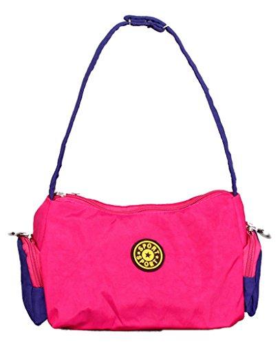 Fortunings JDS® Singolo sacchetto di spalla borsa trendy unico di tela nera borsa a mano tote rosa rossa