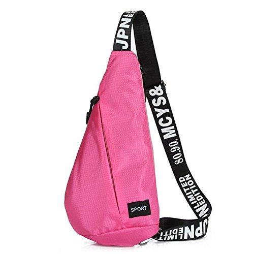 FEITONG Sling Randonnée Chest Sacs Unisexe épaule étanche Messenger Déséquilibre Backpack Rose