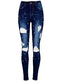 RLWFJXH Jeans Donn Jeans Sexy con Perle Donna Jeans Skinny Alti e Attillati  Taglia Forte Inverno 51e47567f2b