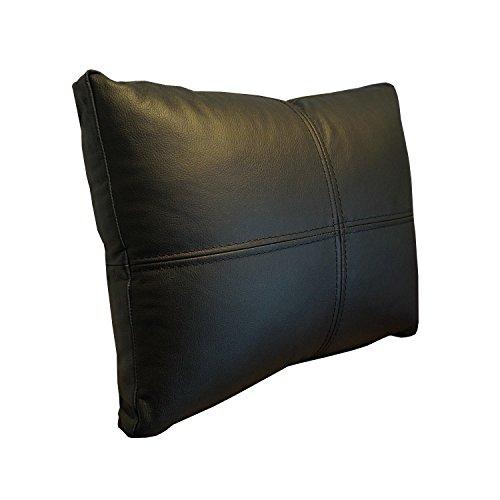 Canapé en cuir véritable Coussin Noir Coussin décoratif Coussin de dos en  cuir véritable cuir de 45c7f660aae
