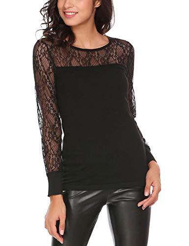 Finejo Damen Langarmshirt Bluse T-Shirt Blumen Spitzen Sweatshirt Shirts  mit Reissverschluss Strick Oberteile Elegant 2401908967