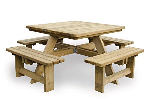 vidaXL Picknicktisch Gartentisch Sitzgarnitur Bierbank Bambus 120 x 120 x 78 cm