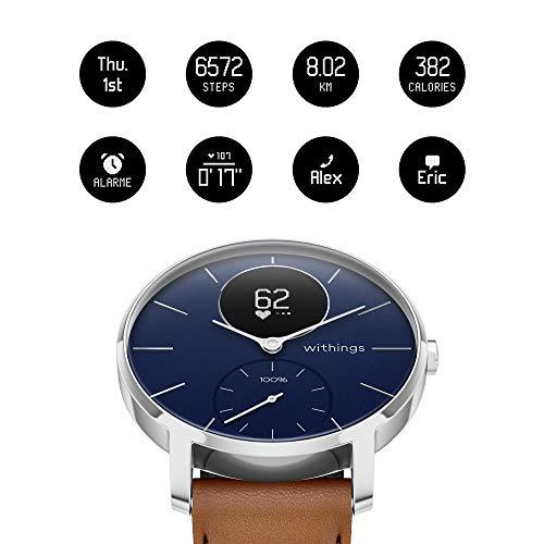 Withings Steel HR Hybrid Smartwatch - Fitnessuhr mit Herzfrequenz und Aktivitätsmessung  , 36 mm - Blau - Saphirglas - Limited Edition, braun Lederband