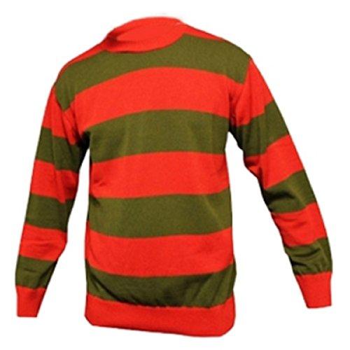 Islander Fashions Unisex Kids Boys Girls Halloween Red And Green Freddy Krueger Fancy Dress Striped Knitted Jumper (7 To 13)