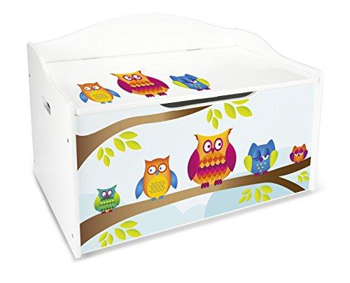 Caja de madera diseño búhos banco XL con almacenamiento para juguetes, accesorios Baúl de juguetes de madera Leomark