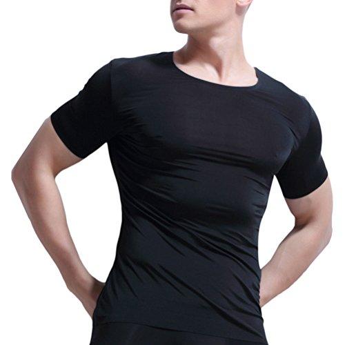 Zhhlinyuan Men's Soft Smooth Breathable Comfortable Seamless Sports Gym Ice Silk T-shirt Tees Tank Top underwear Unterwäsche undershirt Unterhemd Various Color (Nylon-stretch-unterhemd)