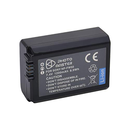 PHOTO MASTER Batteria NP-FW50 (1200mAh) per Sony NEX-3, NEX-3A, NEX-3D, NEX-3K, NEX-5, NEX-5A, NEX-5D, NEX-5H, NEX-6, NEX-7, Alpha a5100, a6000, a7, a7R, a7Ⅱ, α6300, a6500, Sony RX10 IV, Sony SLTA37