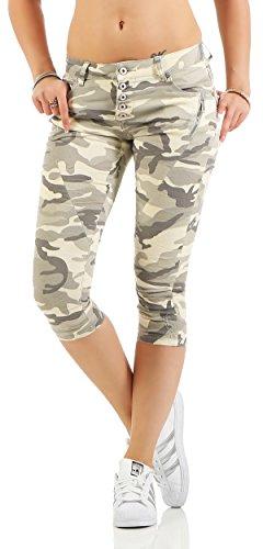 SKUTARI Damen - Boyfriend Jeanshose Camouflage 7/8 kurz Capri Shorts (D42/XL, Armyhell)